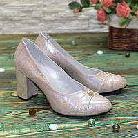Туфли женские кожаные на высоком каблуке, цвет розовый. 37 размер