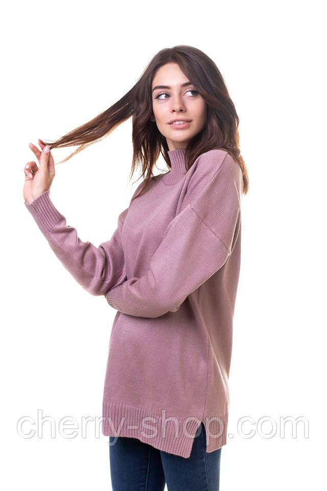 Красивый нежный свитер женский с горловиной стойкой