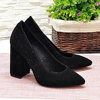 Туфли женские черные замшевые на высоком каблуке. 36 размер