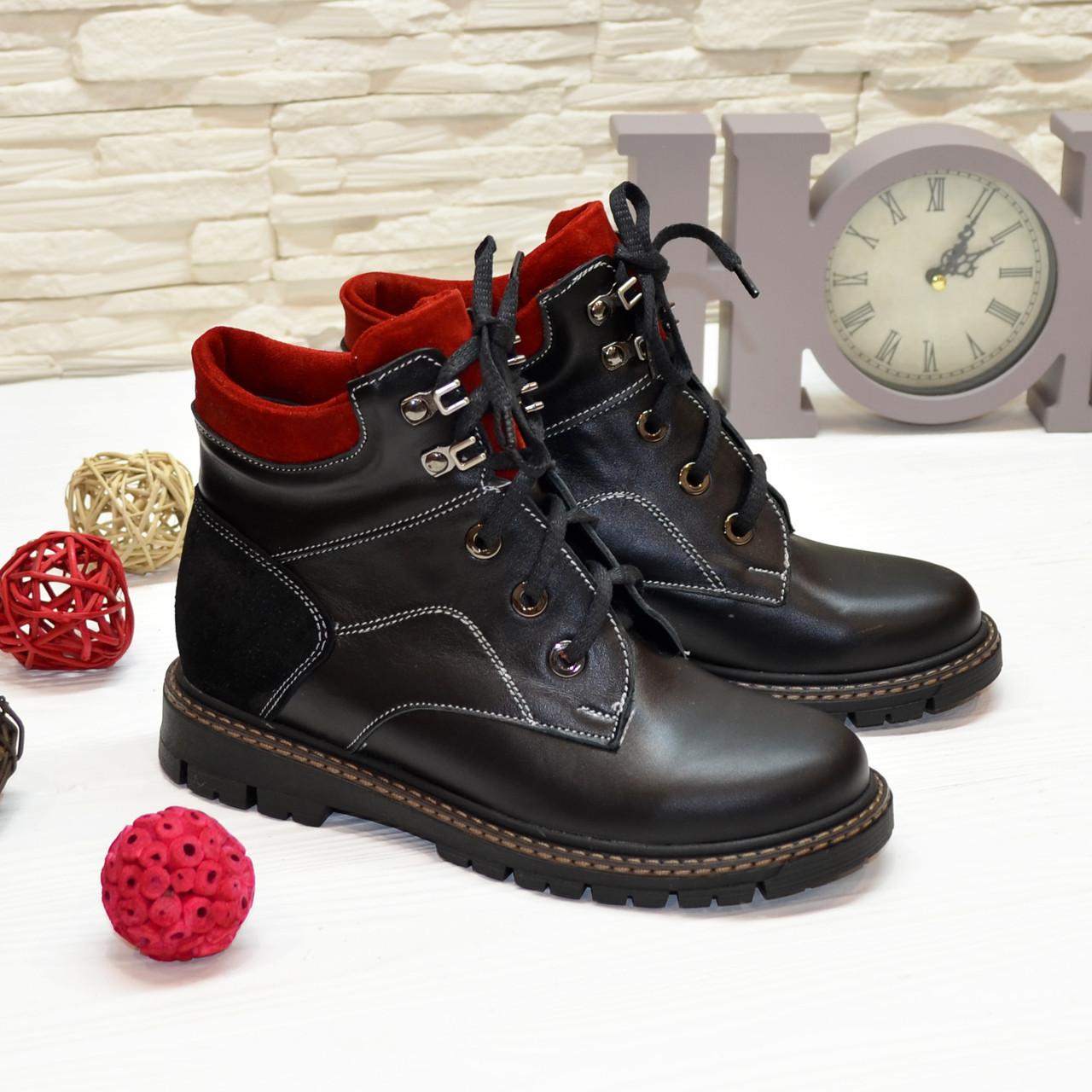 Ботинки подростковые комбинированные для мальчика, черно-красного цвета. 35 размер