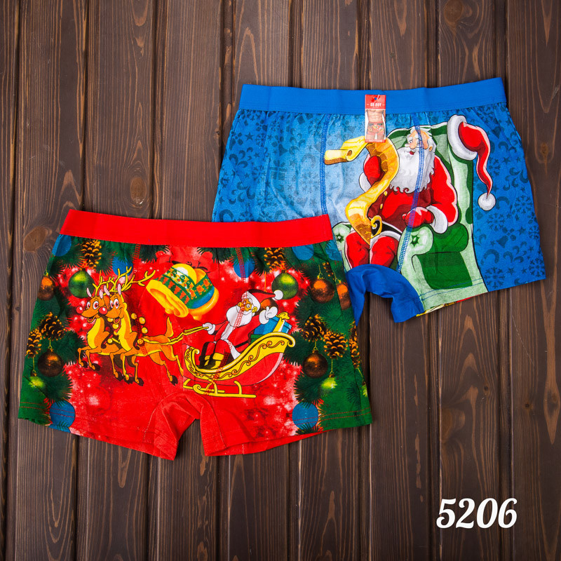 Трусы-боксеры мужские новогодние (L-XL) Wenzhi 5206