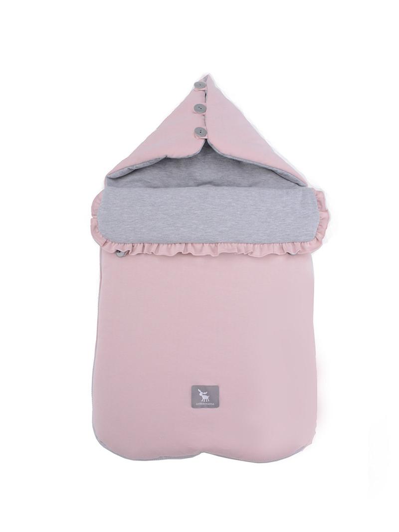 Универсальный конверт в коляску и автокресло Cottonmoose Pooh 330/113/49 розовая пудра с серым меланж
