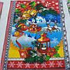 Готовое вафельное полотенце Новогоднее с Дедом Морозом и оленями, 47х60 см