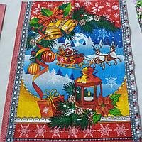 Готове вафельний рушник Новорічне з Дідом Морозом і оленями, 47х60 см