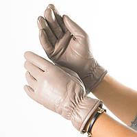 Женские перчатки из экокожи со сборкой на манжете № 19-1-58-1 бежевый S, фото 1