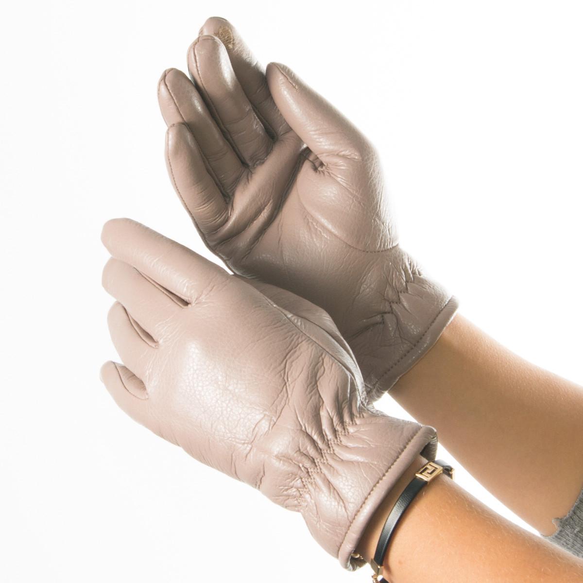 Женские перчатки из экокожи со сборкой на манжете № 19-1-58-1 бежевый S