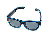 🔝 Светящиеся неоновые светодиодные LED очки, клубные, Синие,  для дискотеки и вечеринок, с доставкой   🎁%🚚