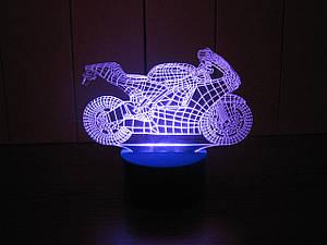 3d-світильник Мотоцикл, 3д-нічник, кілька підсвічувань (батарейка+220В)