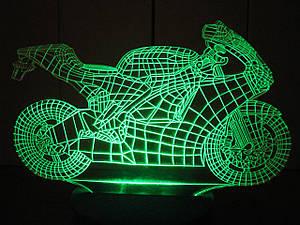3d-світильник Мотоцикл, 3д-нічник, кілька підсвічувань (на пульті)