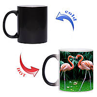 Чашка хамелеон Влюбленные фламинго 330мл