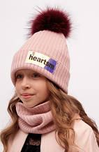 Комплект шапка + шарф для девочки Dembo House Украина 20-01-024 Розовый весенний осенний демисезонный