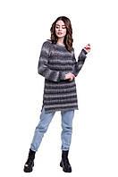 Удлиненный джемпер крупной вязки серого цвета