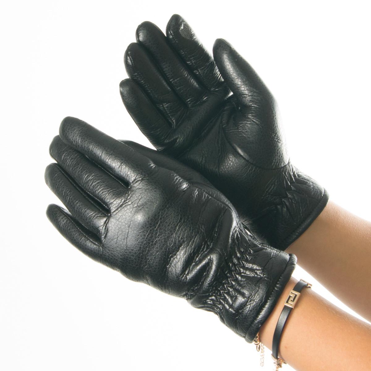 Перчатки из экокожи со сборкой на манжете № 19-1-58-2 черный S