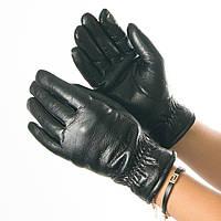 Перчатки из экокожи со сборкой на манжете № 19-1-58-2 черный S, фото 1