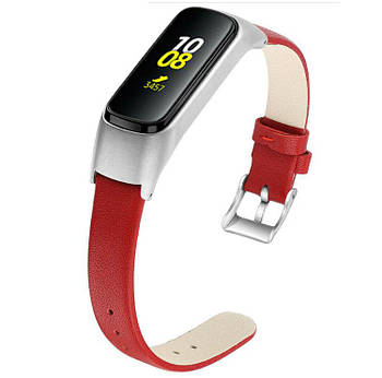 Кожаный ремешок Primo для фитнес браслета Samsung Galaxy Fit E ( SM-R375 ) - Red&Silver