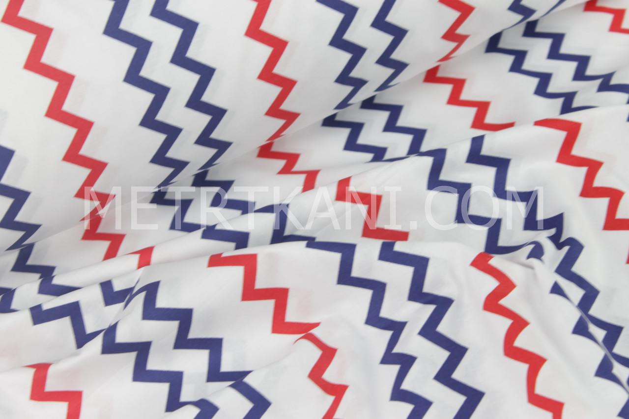 Ткань хлопковая  красно-синими зигзагом на белом №129-01