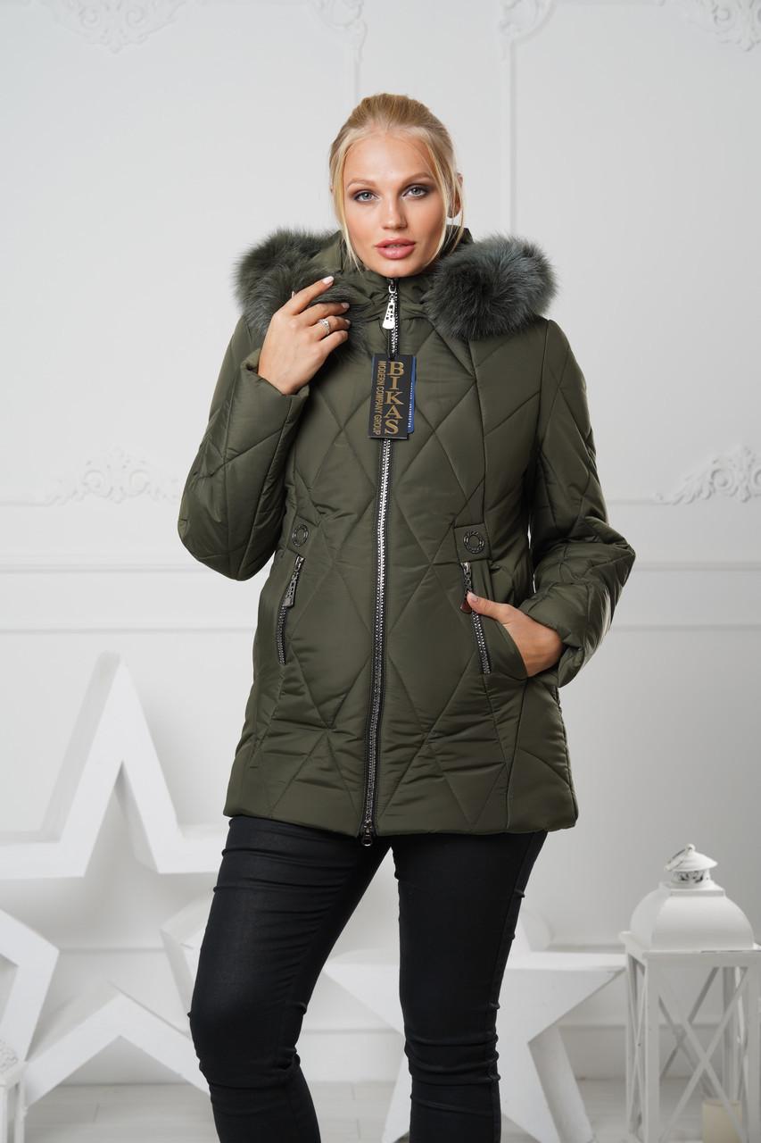 Зимняя женская куртка мех натуральный р.48-60