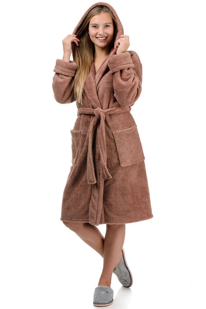 Махровый халат короткий (мокко)