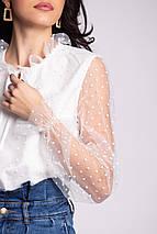 Белая нарядная блуза SNEJKA с длинными прозрачными рукавами из фатина в горошек, фото 2