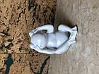 Фігурка жаби біла керамічна декоративна маленька, фото 2