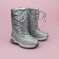 Зимние сапожки дутики на девочку серебро тм Том.м размер 28,29,33
