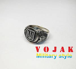 Перстень серебряный мужской Герб и Сова (Разведка)