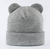 Вязаная шапочка с ушками Ширли серый меланж
