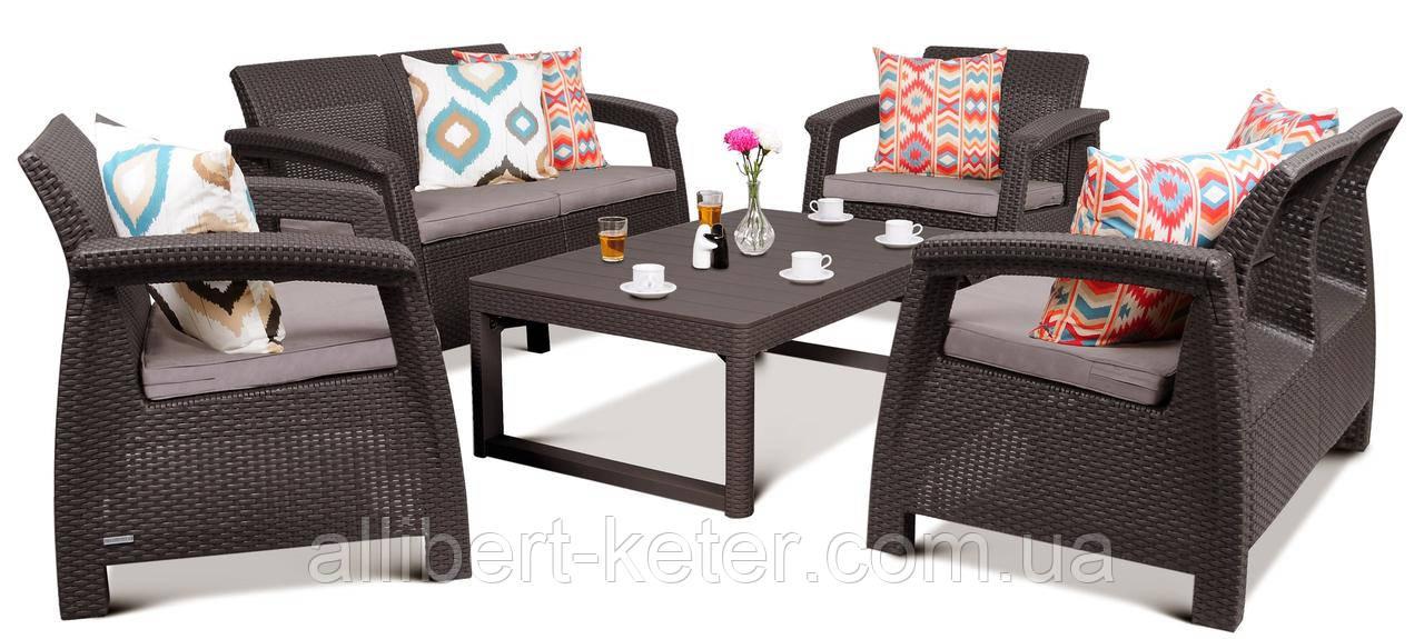 Набор садовой мебели Corfu Fiesta Lyon Table Rattan Brown ( коричневый ) из искусственного ротанга ( Keter )