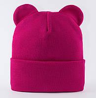 Малиновая шапка с ушками Ширли