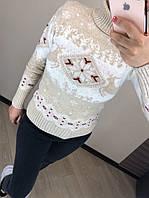 Женский шерстяной вязаный свитер с рисунком олени, бежевый, фото 1