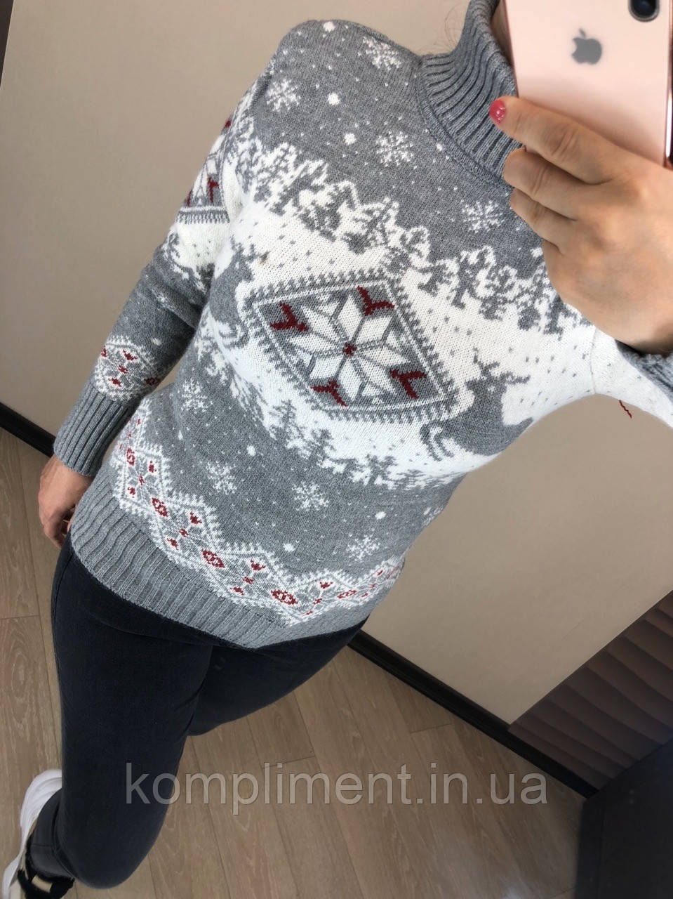 Женский шерстяной вязаный свитер с рисунком олени, серый