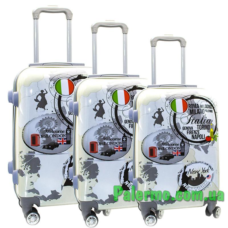 Набор пластиковых чемоданов на колесах (комплект из трех чемоданов) Italy