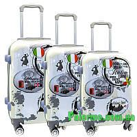 Набор пластиковых чемоданов на колесах (комплект из трех чемоданов) Italy, фото 1