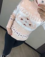 Женский шерстяной вязаный свитер с рисунком олени, пудра, фото 1