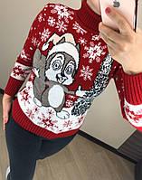 Женский шерстяной вязаный свитер с рисунком белка, красный, фото 1