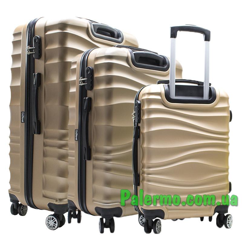 Набор пластиковых чемоданов на колесах (комплект из трех чемоданов) Коричневые волнистые