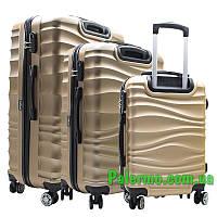 Набор пластиковых чемоданов на колесах (комплект из трех чемоданов) Коричневые волнистые, фото 1