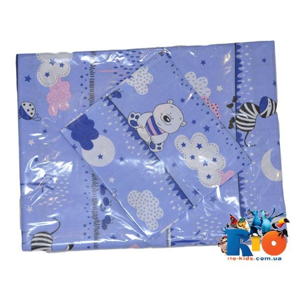 Детское постельное белье (хлопок): наволочка 40х40, простынь 140х110, пододеяльник 140х110 см (мин зказ 1 ед)