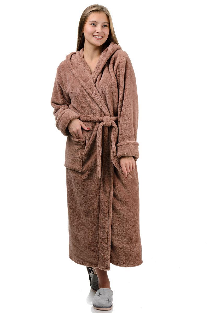 Домашний махровый халат (мокко)