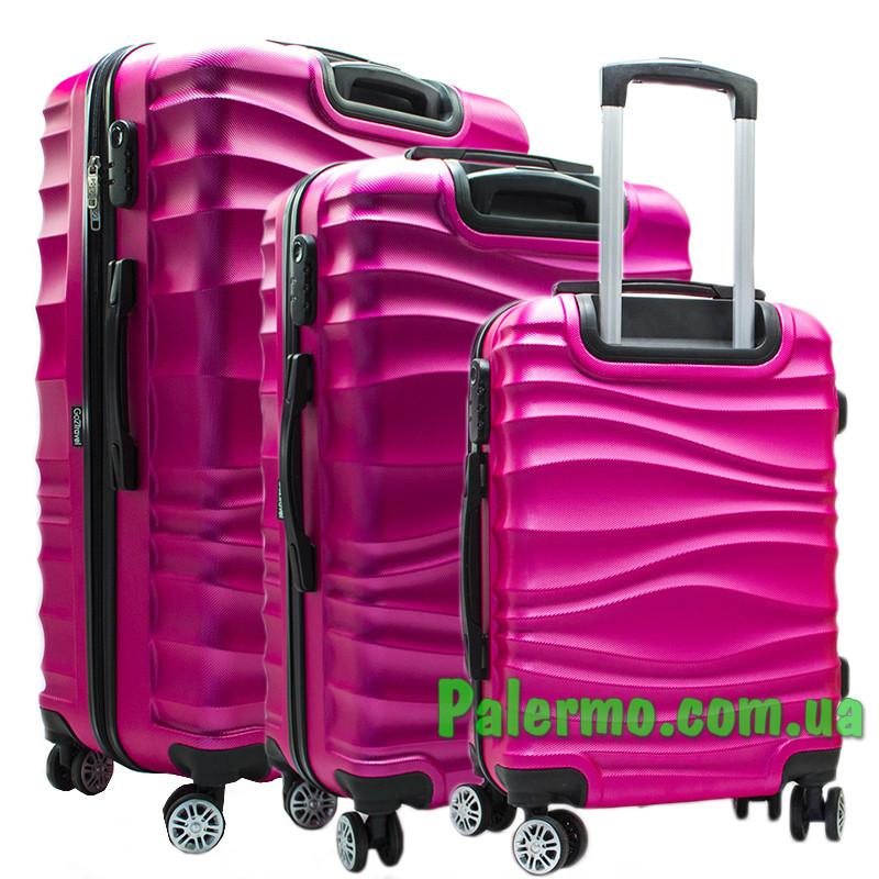Набор пластиковых чемоданов на колесах (комплект из трех чемоданов) Розовые волнистые