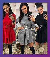 Женское зимнее осенее теплое платье под горло ангора  черное  42-46