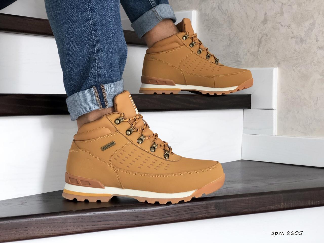Зимние ботинки в стиле Timberland, тимберленд (зима утепленная мехом, кожа нубук, горчичные)