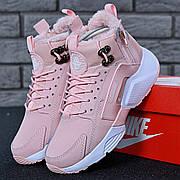 Женские зимние кроссовки с мехом в стиле Nike Huarache Acronym Concept Pink розовые