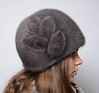 """Женская норковая шапка """"Шарик-листочки"""""""