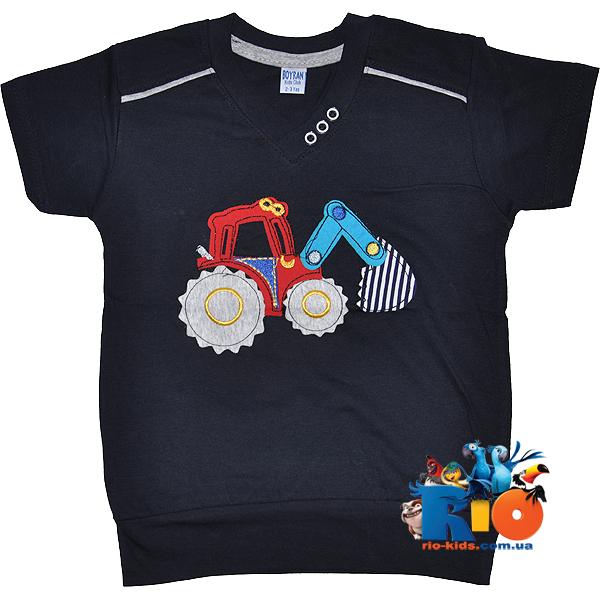"""Детская летняя футболка """"Трактор"""" , из трикотажа , для мальчика 2-3; лет"""