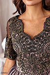 Ажурное короткое платье А-силуэта бежевое, фото 3