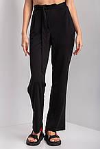 Черные трикотажные брюки палаццо ADELAIDA высокой посадки