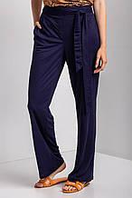 Синие трикотажные брюки палаццо ADELAIDA с высокой посадкой