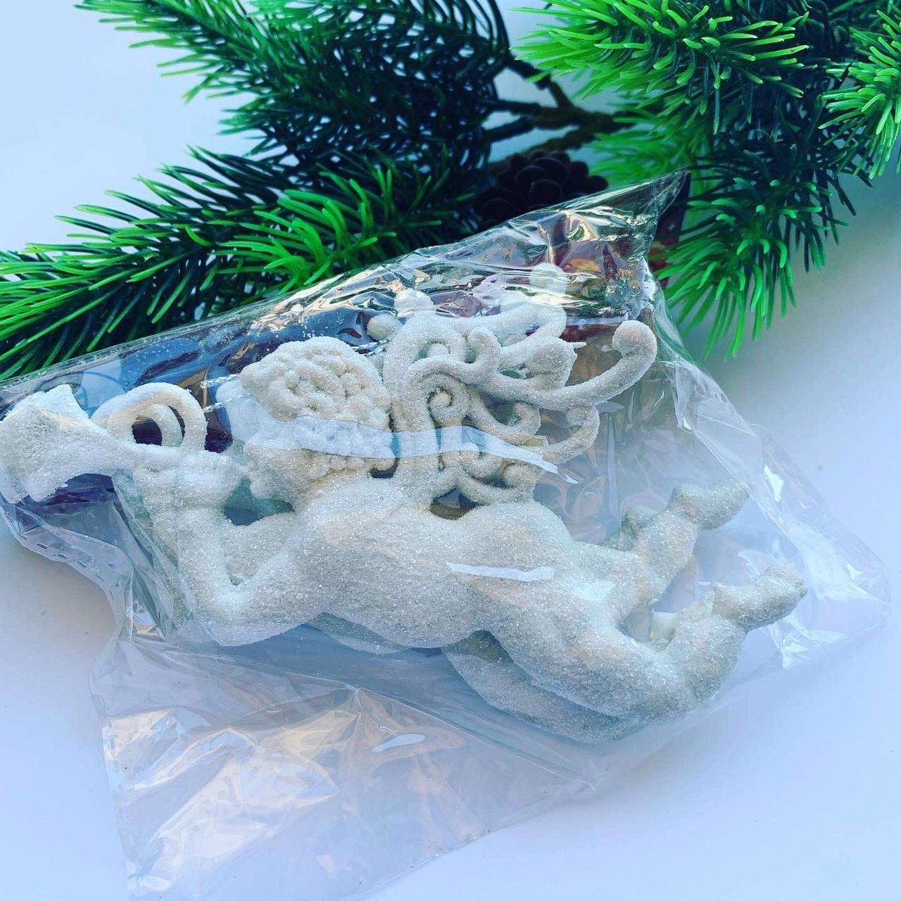 Новогоднее украшение - «Ангелочек белый» ( 2 шт )