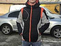 Спортивная зимняя куртка, черная с серым с оранжевыми вставками